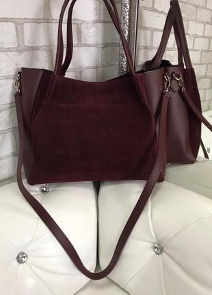 Замшевая сумка цвета марсала3