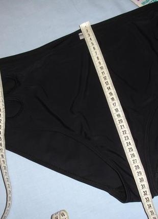 Низ от купальника раздельного трусики женские плавки размер 50 / 16 высокие черные прорези3