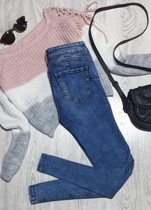 🌿 синие базовые джинсы скинни pull&bear3