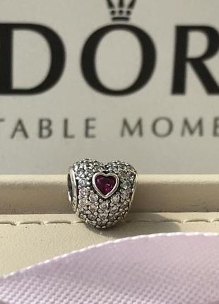 Шарм сердце с малиновым камнем , оригинал пандора , pandora