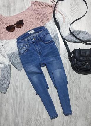 🌿 синие базовые джинсы скинни zara3