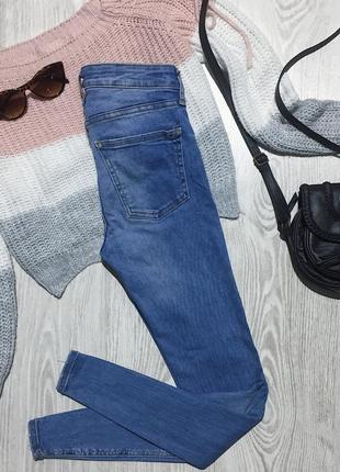 🌿 синие базовые джинсы скинни zara4