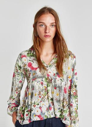 Цветная вискозная блуза от zara рр s2
