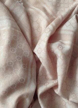 Платок-палантин тонкий. кашемир/шерсть. бежево-розовый. 120*120 см.2