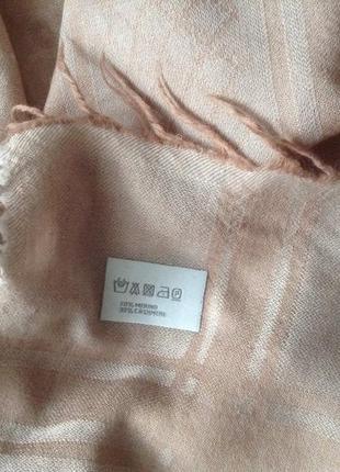 Платок-палантин тонкий. кашемир/шерсть. бежево-розовый. 120*120 см.4
