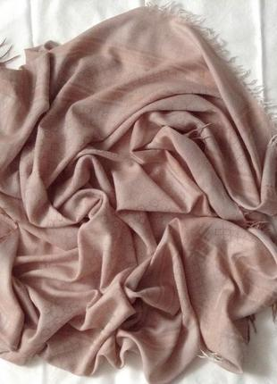 Платок-палантин тонкий. кашемир/шерсть. бежево-розовый. 120*120 см.5