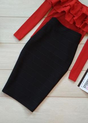Черная юбка миди1