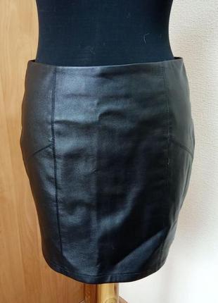 Женская черная юбка из экокожи asos1