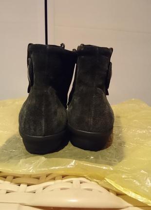 Женские кожаные сапожки, ботиночки темно зеленые кожаные4