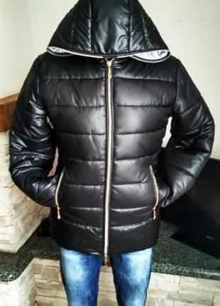 Зимняя черная куртка на 46 размер ручная работа1