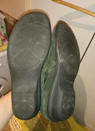 Женские кожаные сапожки, ботиночки темно зеленые кожаные5