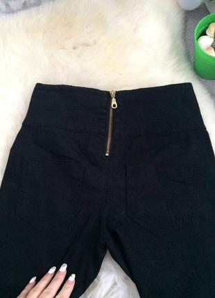 Чёрные скинни джинсы высокая посадка завышенная талия2