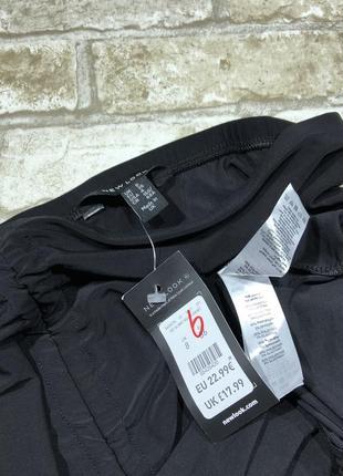 Чёрная юбка карандаш из эластичной ткани, жатая спереди, классическая строгая деловая5