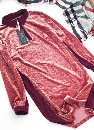 Велюровое платье в леопардовый принт east trend1
