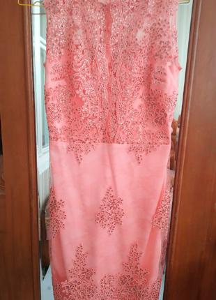 Элегантное нарядное платье нежно-розового цвета2