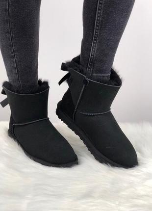 Шикарные женские зимние угги/сапоги с натуральным мехом ugg mini bailey bow 2 (black)2