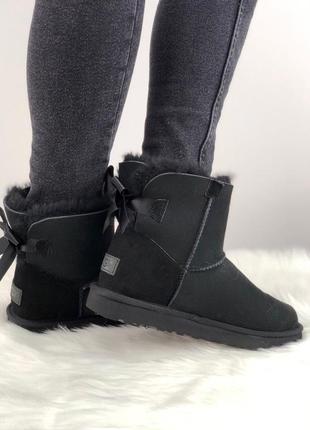 Шикарные женские зимние угги/сапоги с натуральным мехом ugg mini bailey bow 2 (black)3