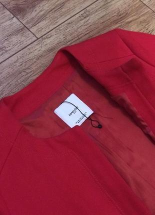 Стильное теплое красное алое пальто mango3