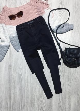 🌿 черные базовые джинсы скинни с высокой посадкой bershka3