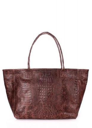 Стильная сумка из 100% кожи под крокодила.2