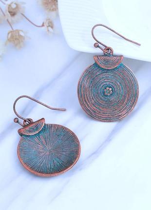 Круглые женские металлические серьги бронзового цвета, этнические, бохо boho стиль