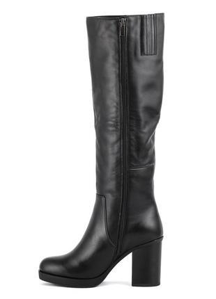 976цп женские сапоги attico,кожаные,на толстом каблуке,на каблуке,круглый носок3