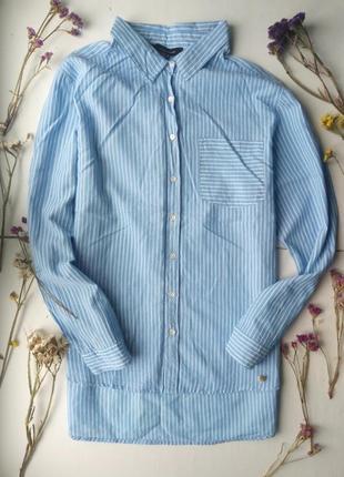 Трендовая удлиненная рубашка в полоску,хлопковая рубашка,блузка для офиса atmosphere1