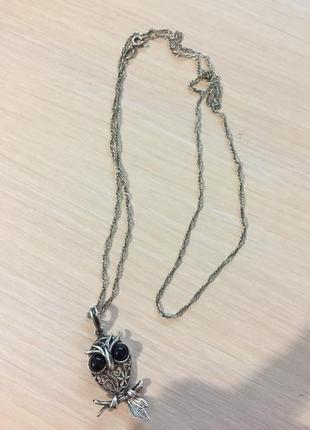 Сова на цепочке серебро 925 обмен1