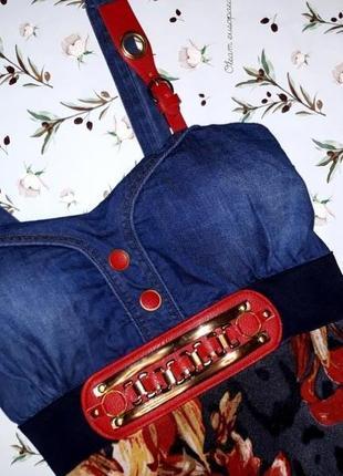 Шикарное фирменное платье zara с джинсовым верхом, размер 46-482