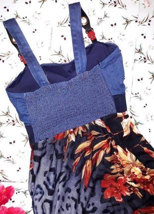 Шикарное фирменное платье zara с джинсовым верхом, размер 46-483