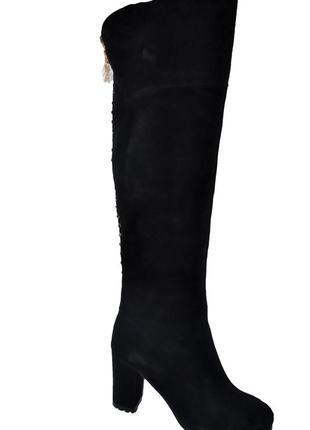 Новые сапоги женские зимние черные замшевые brocoli со скидкой, натуральный мех, цегейка1