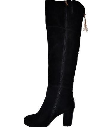 Новые сапоги женские зимние черные замшевые brocoli со скидкой, натуральный мех, цегейка2