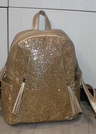 Стильный золотистый рюкзак3