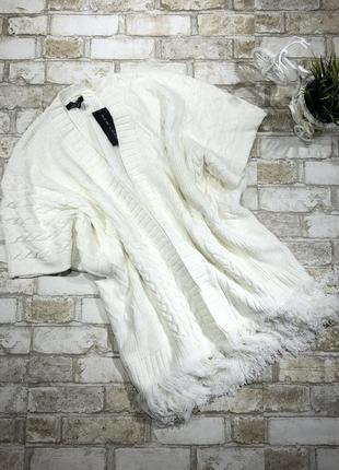Тёплый мягкий вязаный кардиган оверсайз, пончо, накидка, кимоно с бахромой5