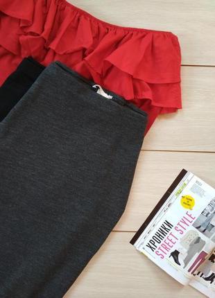 Серая трикотажная юбка карандаш2