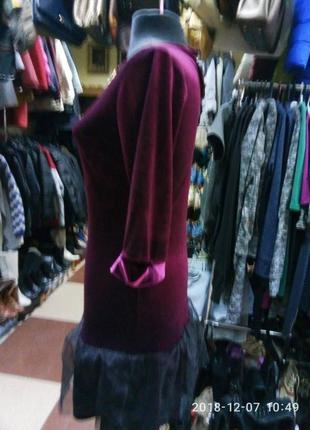 Платье бархатное велюровое цвет марсала внизу фатин2 фото