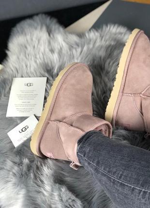 Угги низкие натуральные classic mini pink3