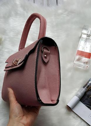 Новая классная розовая пудра сумочка клатч с длинной ручкой3