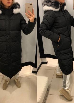 Длинное зимнее пальто с мехом mohito тёплая куртка с мехом есть размеры1