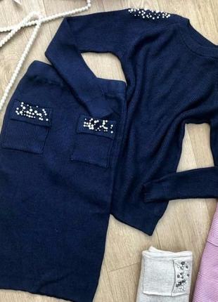 Комплект костюм юбка миди кашемир шерсть универсальный с-м-л с жемчугом3