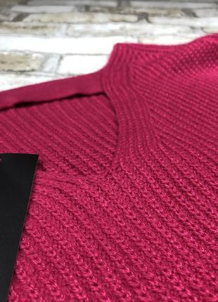 Яркий тёплый вязаный свитер оверсайз с вырезом на спине, объёмный2