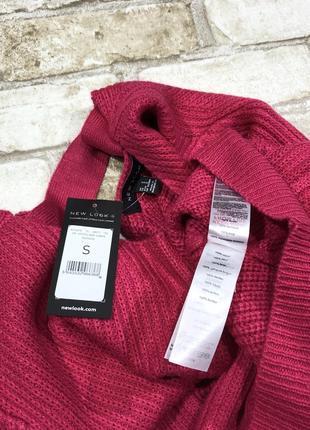 Яркий тёплый вязаный свитер оверсайз с вырезом на спине, объёмный5