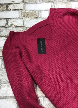 Яркий тёплый вязаный свитер оверсайз с вырезом на спине, объёмный4