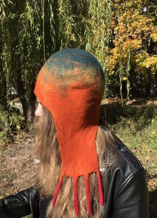 Шапка - ушанка  валяная женская шерстяная1 фото