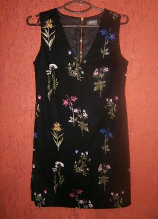 Очаровательное платье -футляр , сарафан,   в цветы хлопок на подкладке1