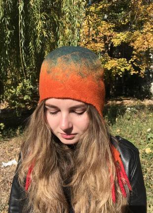 Шапка - ушанка  валяная женская шерстяная2 фото