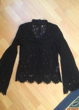 Кружевная блузка з чокером zara2