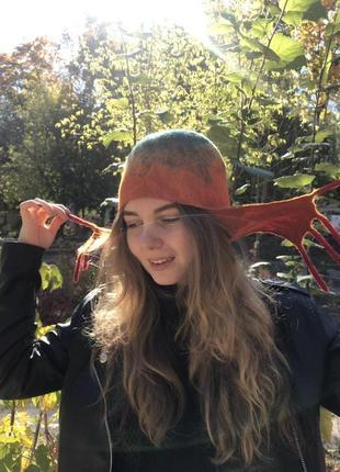 Шапка - ушанка  валяная женская шерстяная5 фото