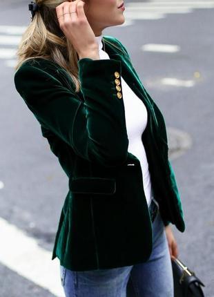 Фирменный темно зеленый блейзер, жакет, пиджак, вельвет, massimo dutti, массимо дутти, m-l1 фото