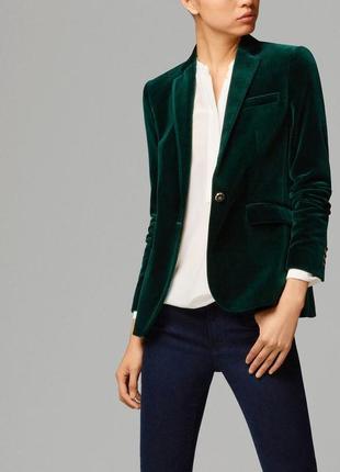Фирменный темно зеленый блейзер, жакет, пиджак, вельвет, massimo dutti, массимо дутти, m-l2 фото